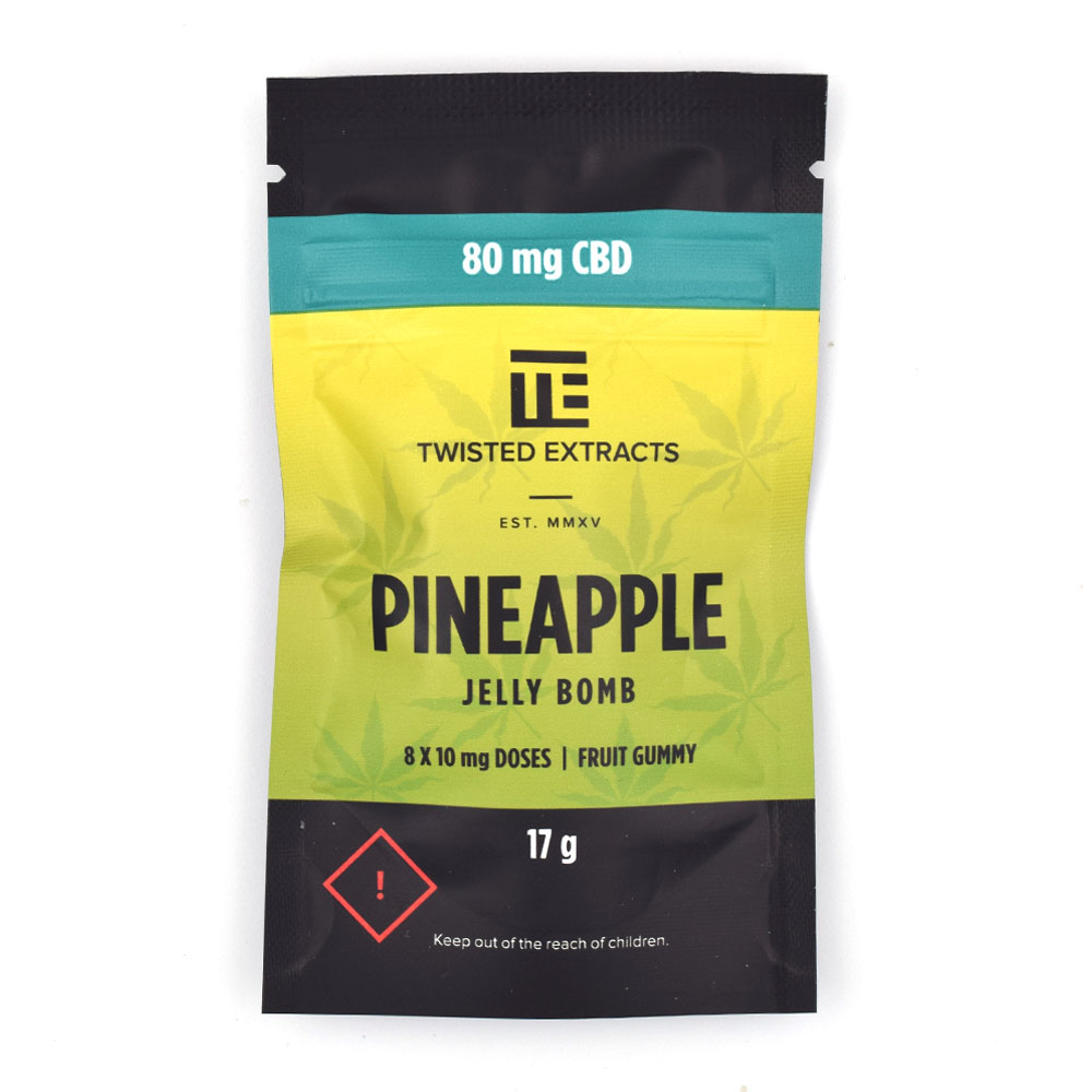 Twisted Extracts Pineapple CBD Jelly Bomb 80mg CBD by BC Bud Supply - Image © 2020 BC Bud Supply. All Rights Reserved.