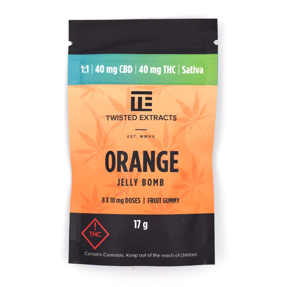 Twisted Extracts Orange Sativa 1:1 Jelly Bomb 40mg CBD 40mg THC by BC Bud Supply - Image © 2020 BC Bud Supply. All Rights Reserved.