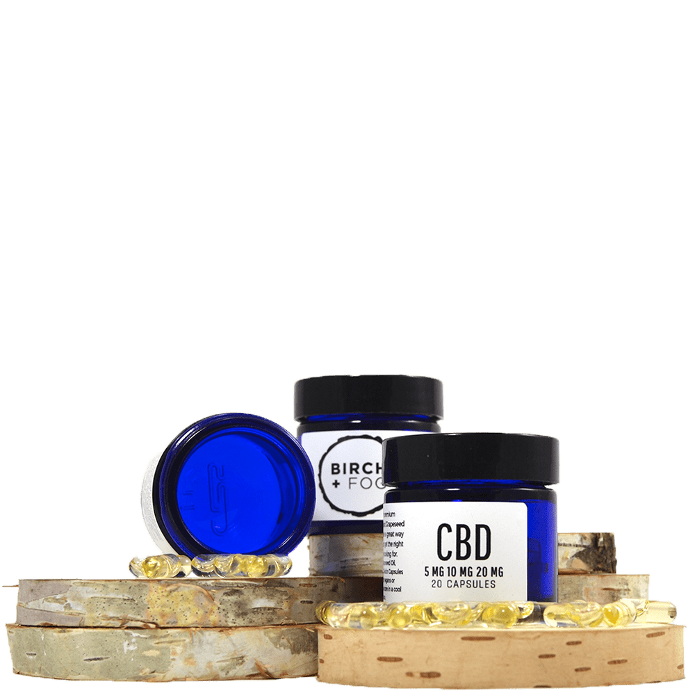 B+F CBD Capsules 20 pack (100mg-400mg CBD) by Birch + Fog - Image © 2018 Birch + Fog. All Rights Reserved.