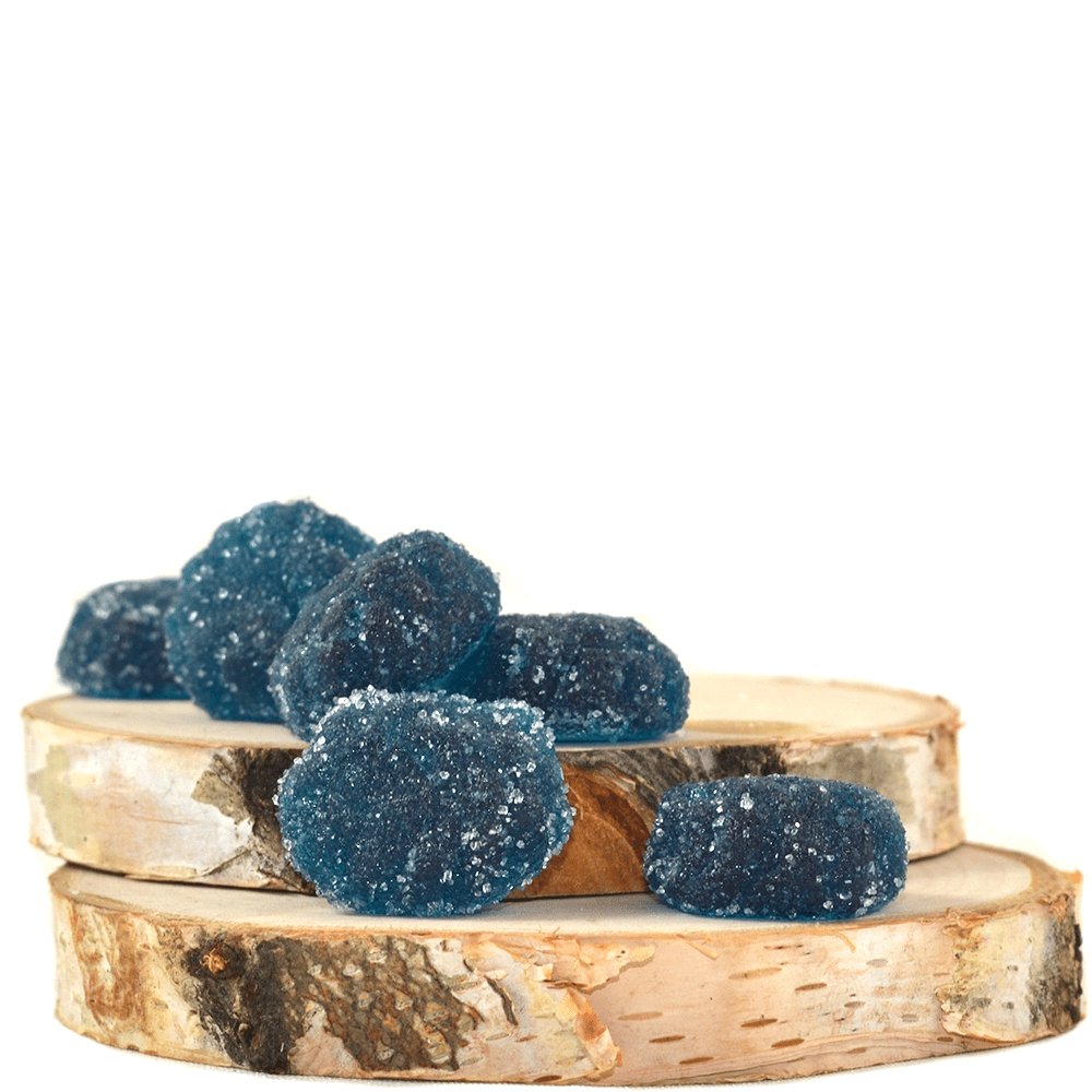 Faded Edibles Berry Blue Raspberries (150mg THC) by Birch + Fog - Image © 2018 Birch + Fog. All Rights Reserved.