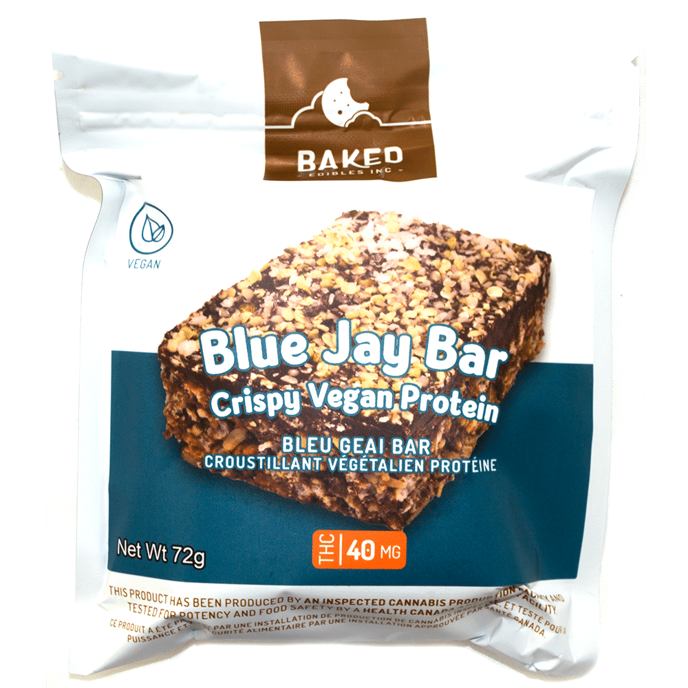 Baked Edibles Blue Jay Bar 40mg (Vegan Protein) by Birch + Fog - Image © 2018 Birch + Fog. All Rights Reserved.