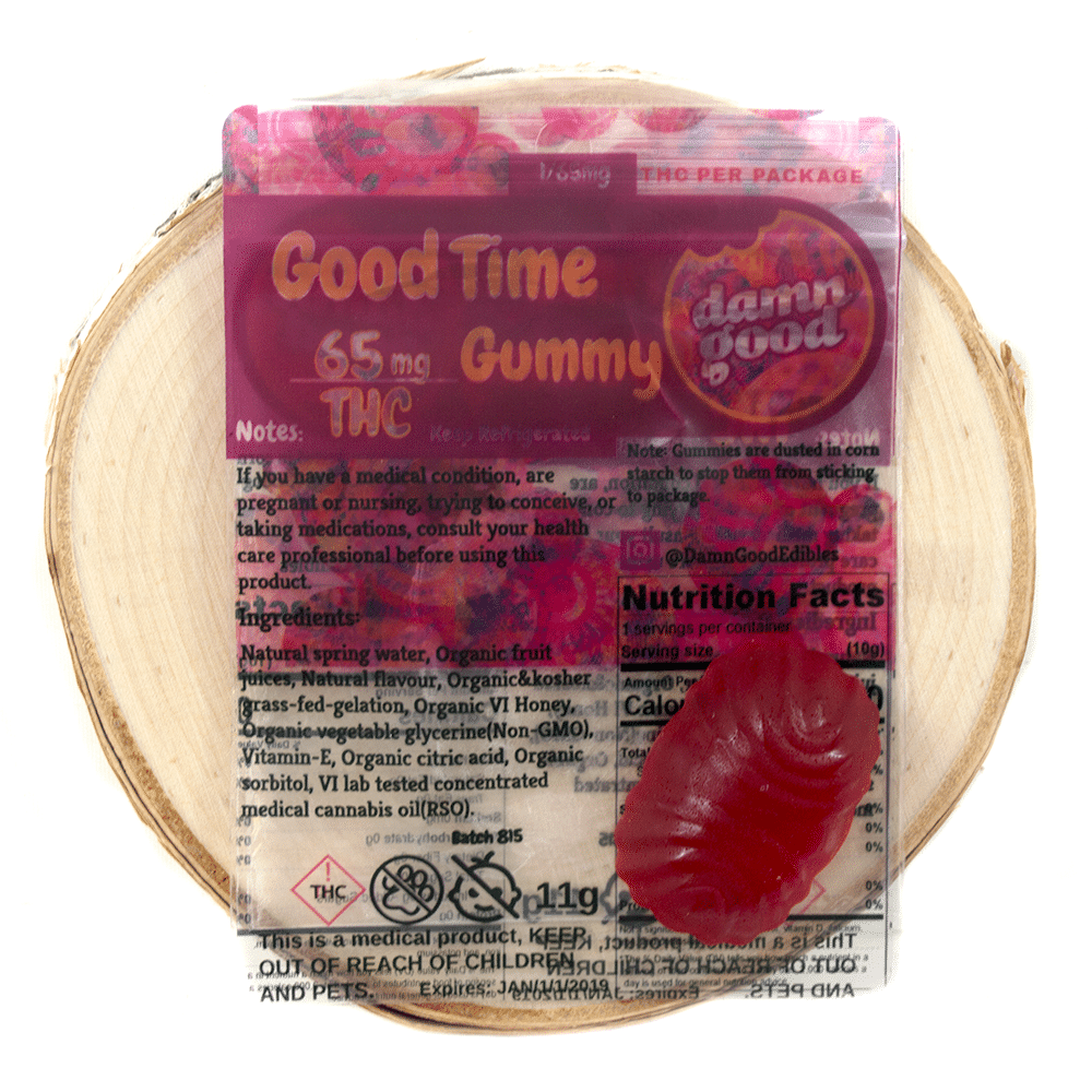 Damn Good Edibles Good Time Gummy (65mg THC) by Birch + Fog - Image © 2018 Birch + Fog. All Rights Reserved.