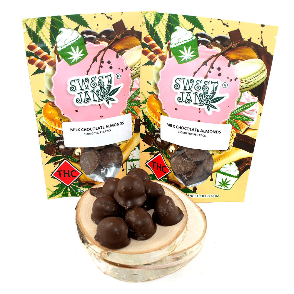 Sweet Jane Milk Chocolate Almonds (150mg THC) by Birch + Fog - Image © 2018 Birch + Fog. All Rights Reserved.
