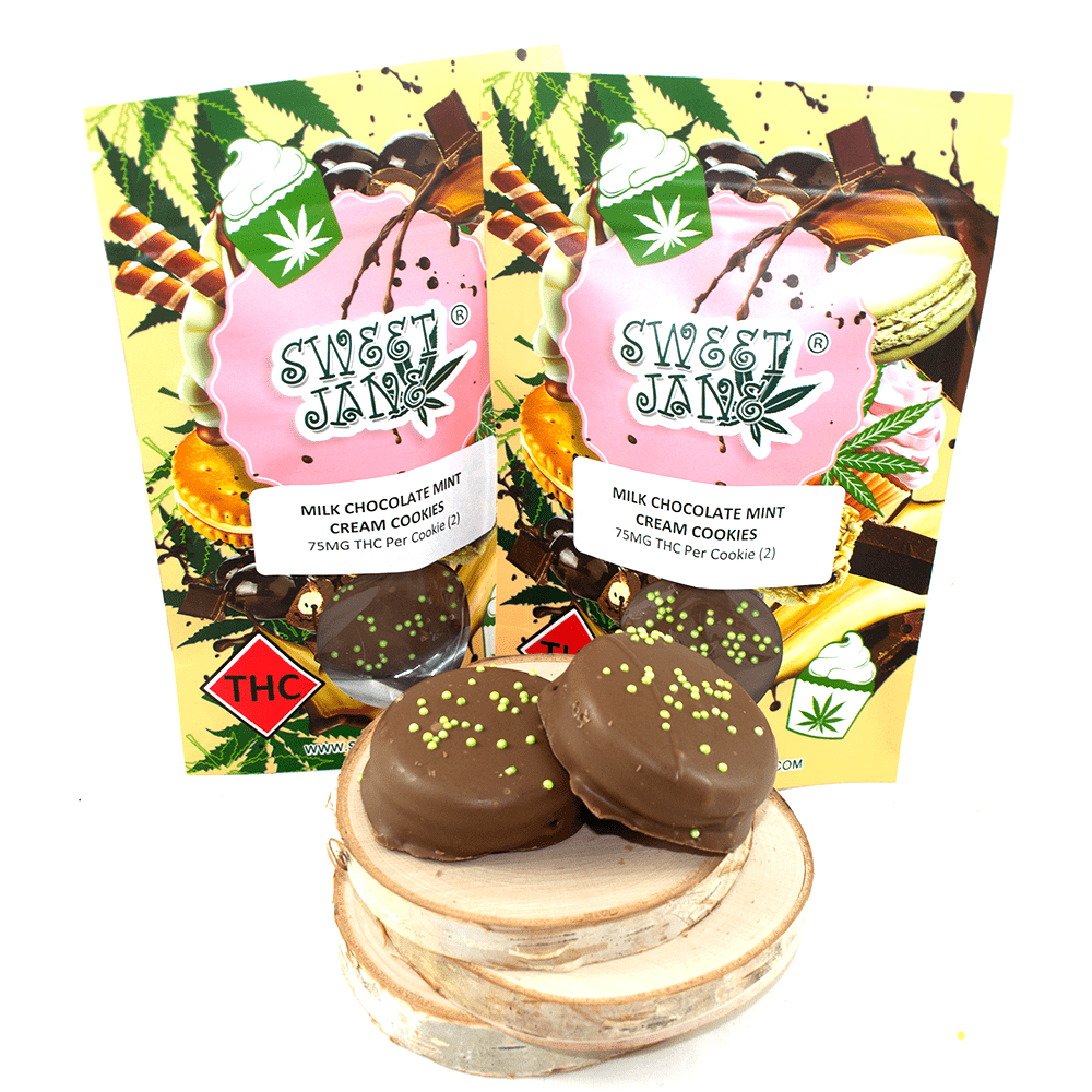 Sweet Jane Milk Chocolate Mint Cream Cookies (150mg THC) by Birch + Fog - Image © 2018 Birch + Fog. All Rights Reserved.