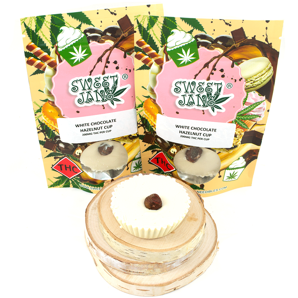 Sweet Jane White Chocolate Hazelnut Cup (200mg THC) by Birch + Fog - Image © 2018 Birch + Fog. All Rights Reserved.