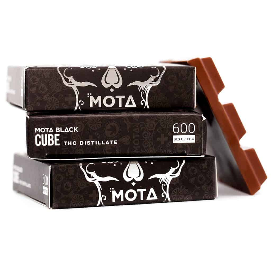 MOTA BLACK Milk Chocolate Cube (600mg THC) by Birch + Fog - Image © 2018 Birch + Fog. All Rights Reserved.