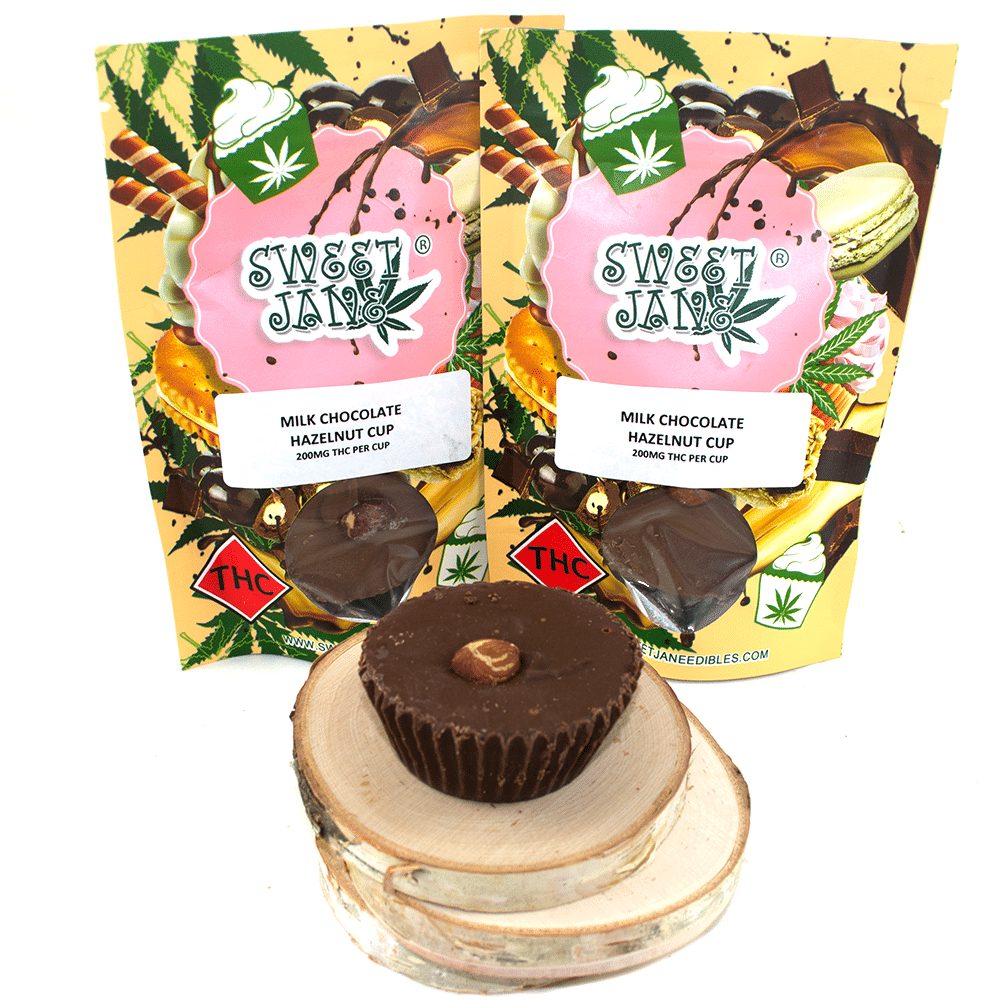 Sweet Jane Milk Chocolate Hazelnut Cup (200mg THC) by Birch + Fog - Image © 2018 Birch + Fog. All Rights Reserved.