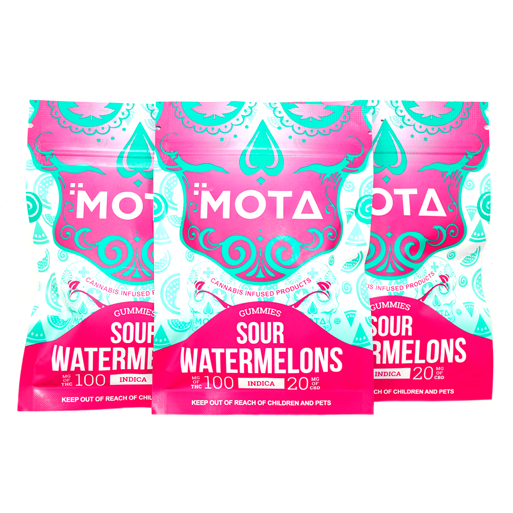 MOTA Indica Sour Watermelons (100mg THC/20mg CBD) by Birch + Fog - Image © 2018 Birch + Fog. All Rights Reserved.