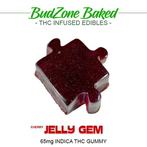 Cherry Jelly Gem 65mg Indica THC Gummy by Bud Zone - Image © 2018 Bud Zone. All Rights Reserved.