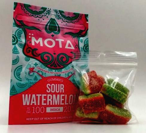 MOTA Sour Watermelon Gummies THC/CBD Indica by Bud Zone - Image © 2020 Bud Zone. All Rights Reserved.