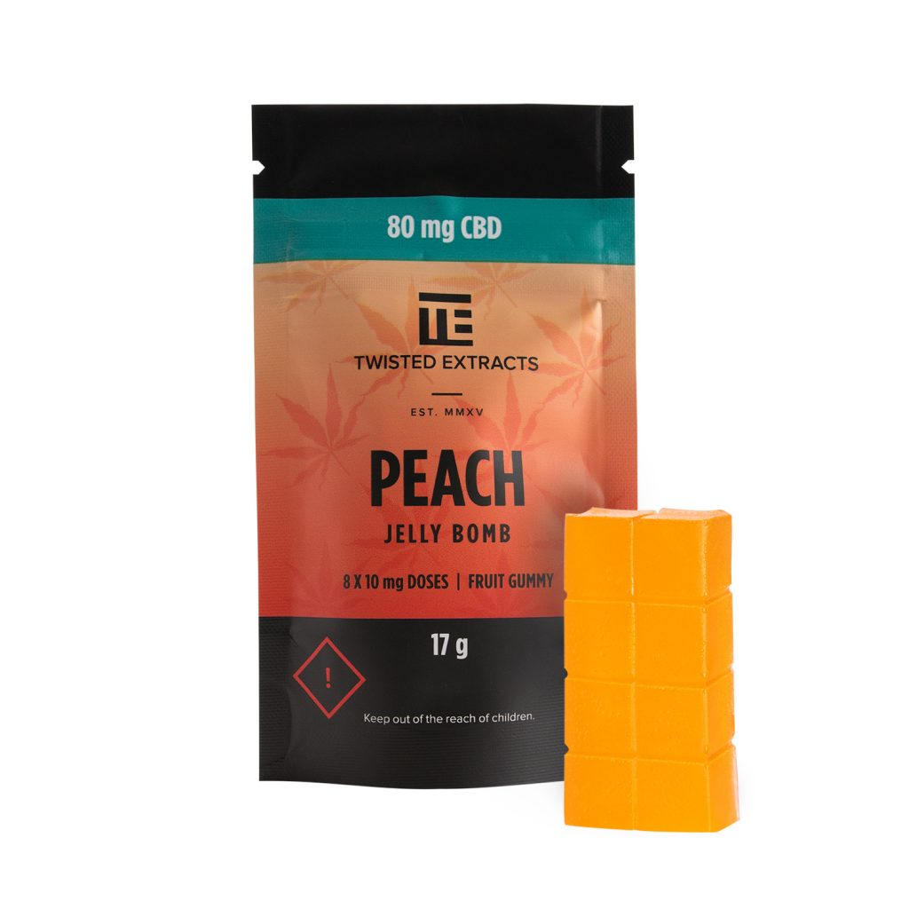 TWISTED EXTRACTS CBD PEACH JELLY BOMB by Buy My Bud - Image © 2021 Buy My Bud. All Rights Reserved.