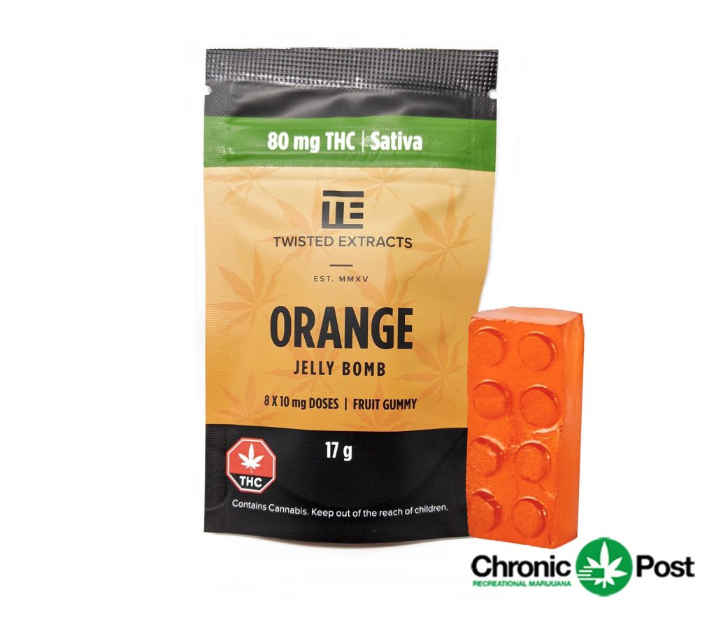Orange Jelly Bomb by Twisted Extracts 80mg THC Sativa by Chronic Post - Image © 2020 Chronic Post. All Rights Reserved.
