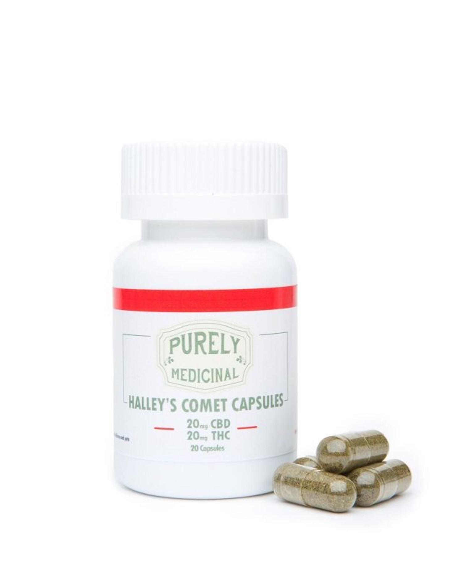 Halleys Comet Capsules (20mg THC & 20mg CBD) by Purely Medicinal by Ganja Grams - Image © 2018 Ganja Grams. All Rights Reserved.
