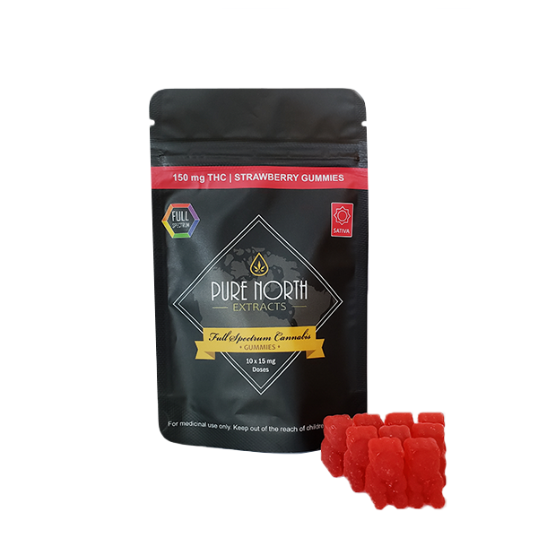 Strawberry Full Spectrum Gummies by PNE (150mg THC) by Ganja Grams - Image © 2018 Ganja Grams. All Rights Reserved.
