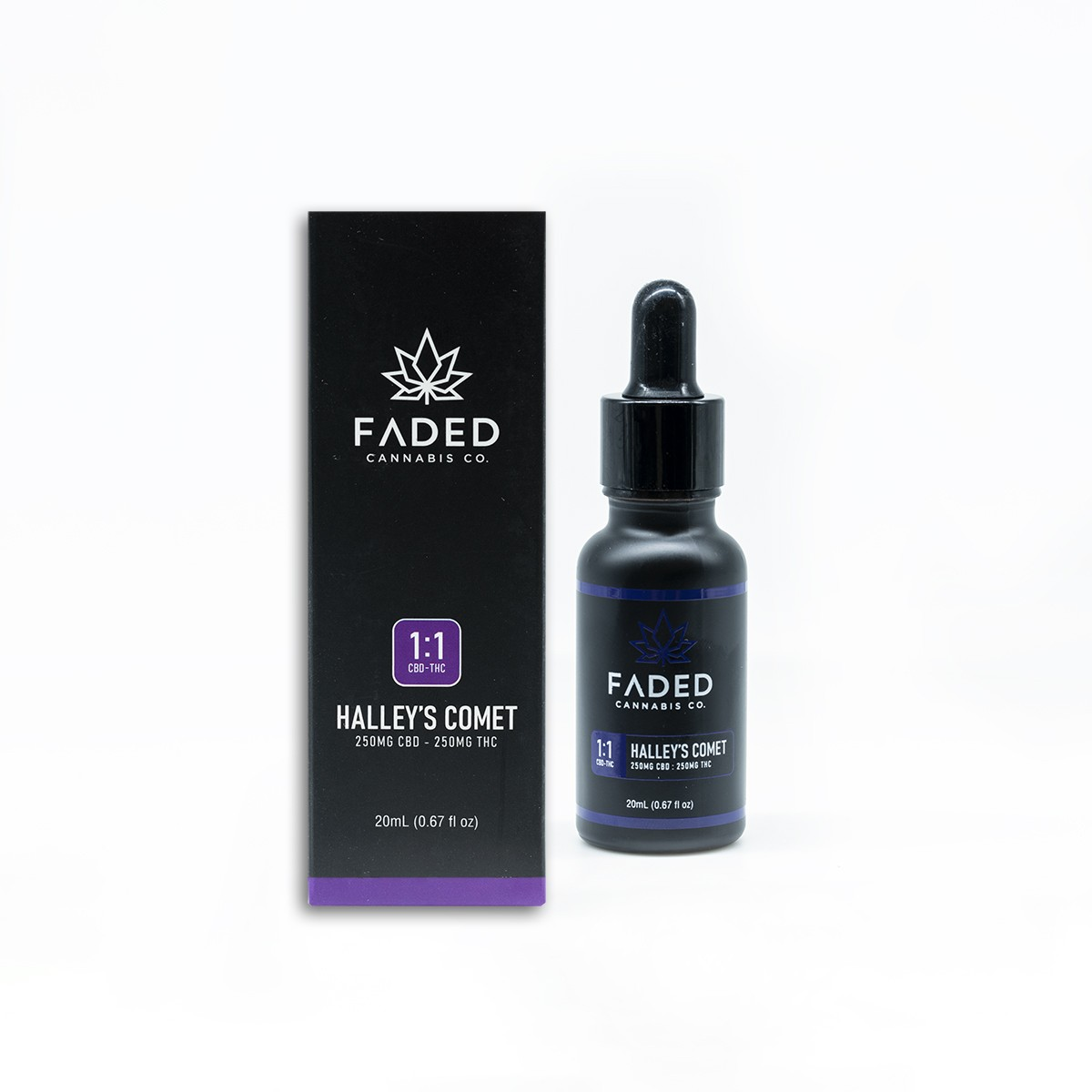 Faded Cannabis Co. Halleys Comet Tincture 1:1 CBD/THC by Get Kush - Image © 2020 Get Kush. All Rights Reserved.