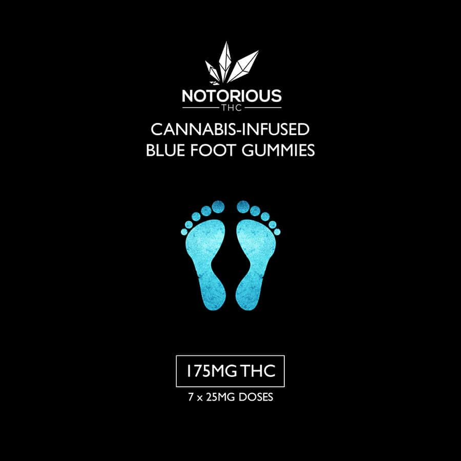 Blue Foot Raspberry Sour Gummies (175mg THC) Notorious THC by Grass Inbox - Image © 2020 Grass Inbox. All Rights Reserved.