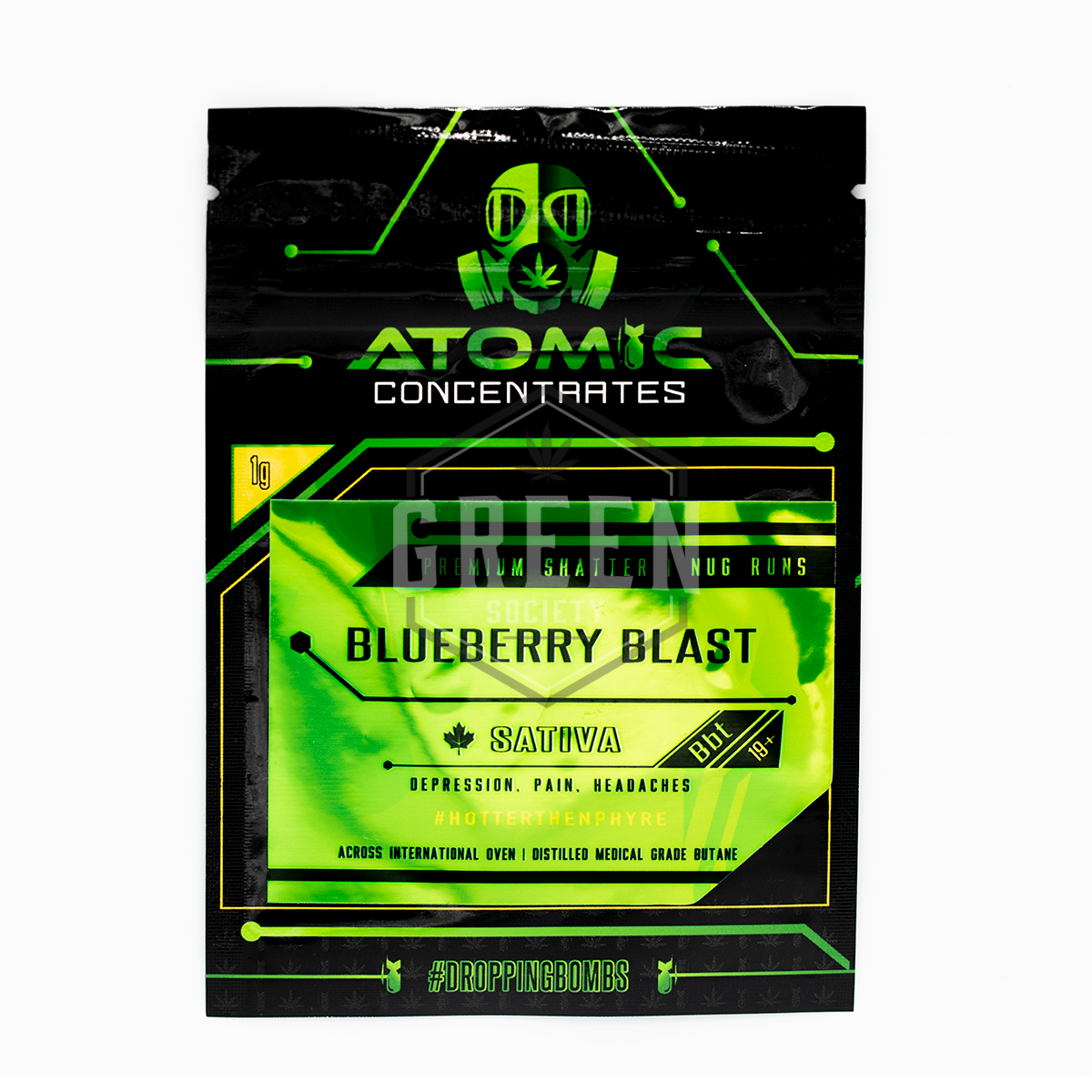 Blueberry Blast Shatter by Atomic Concentrates by Green Society - Image © 2018 Green Society. All Rights Reserved.