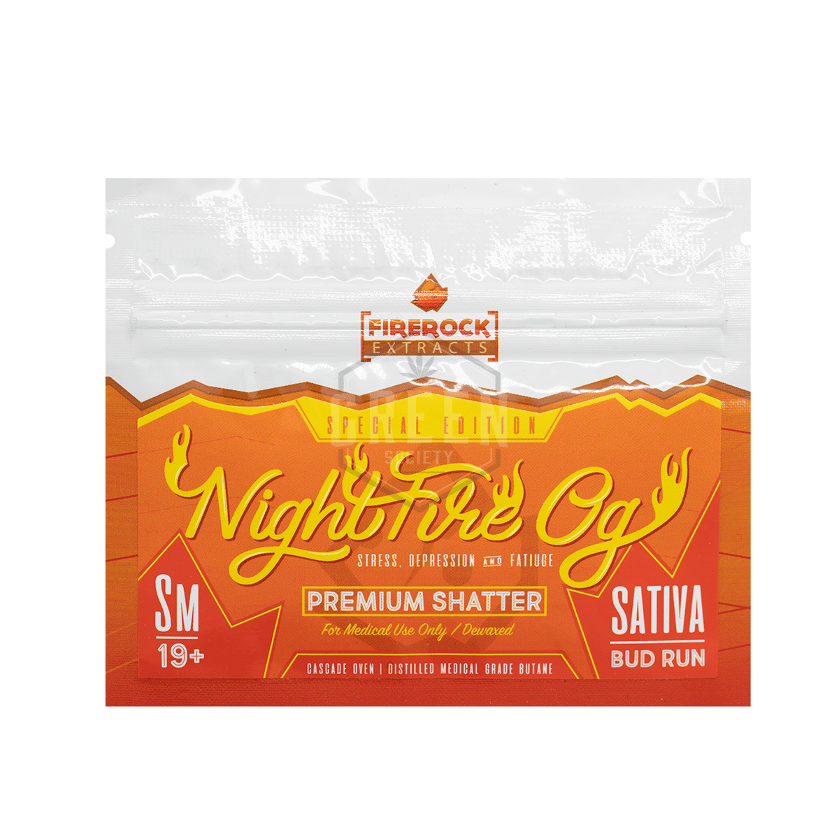 NightFire OG Shatter by Firerock Extracts by Green Society - Image © 2018 Green Society. All Rights Reserved.