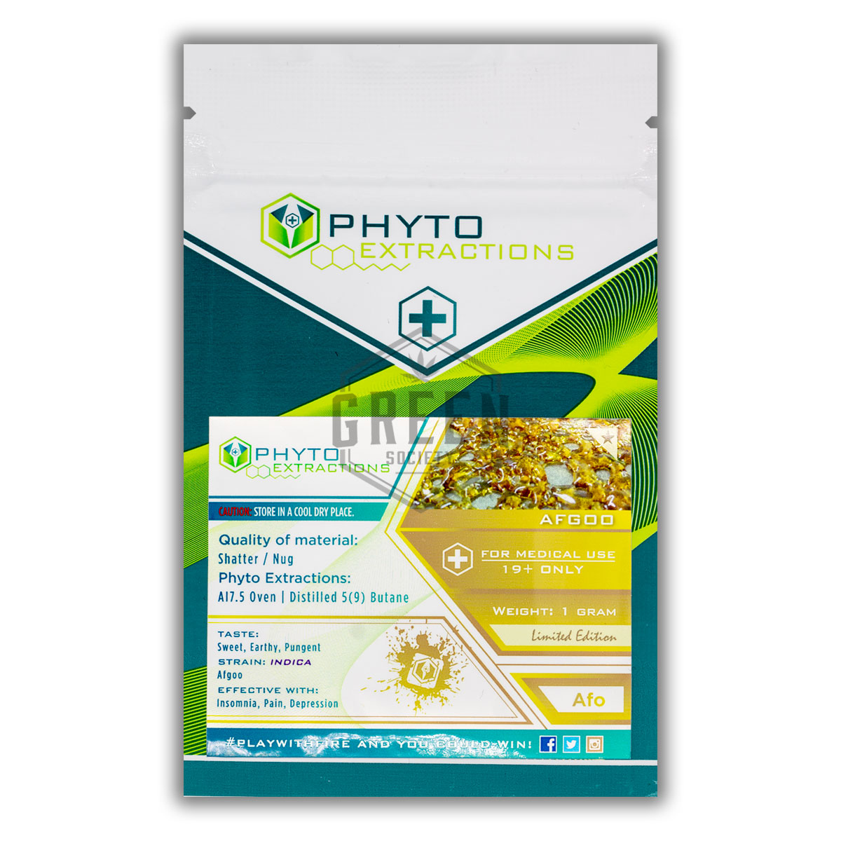 Phyto Extractions Afgoo Shatter by Green Society - Image © 2018 Green Society. All Rights Reserved.
