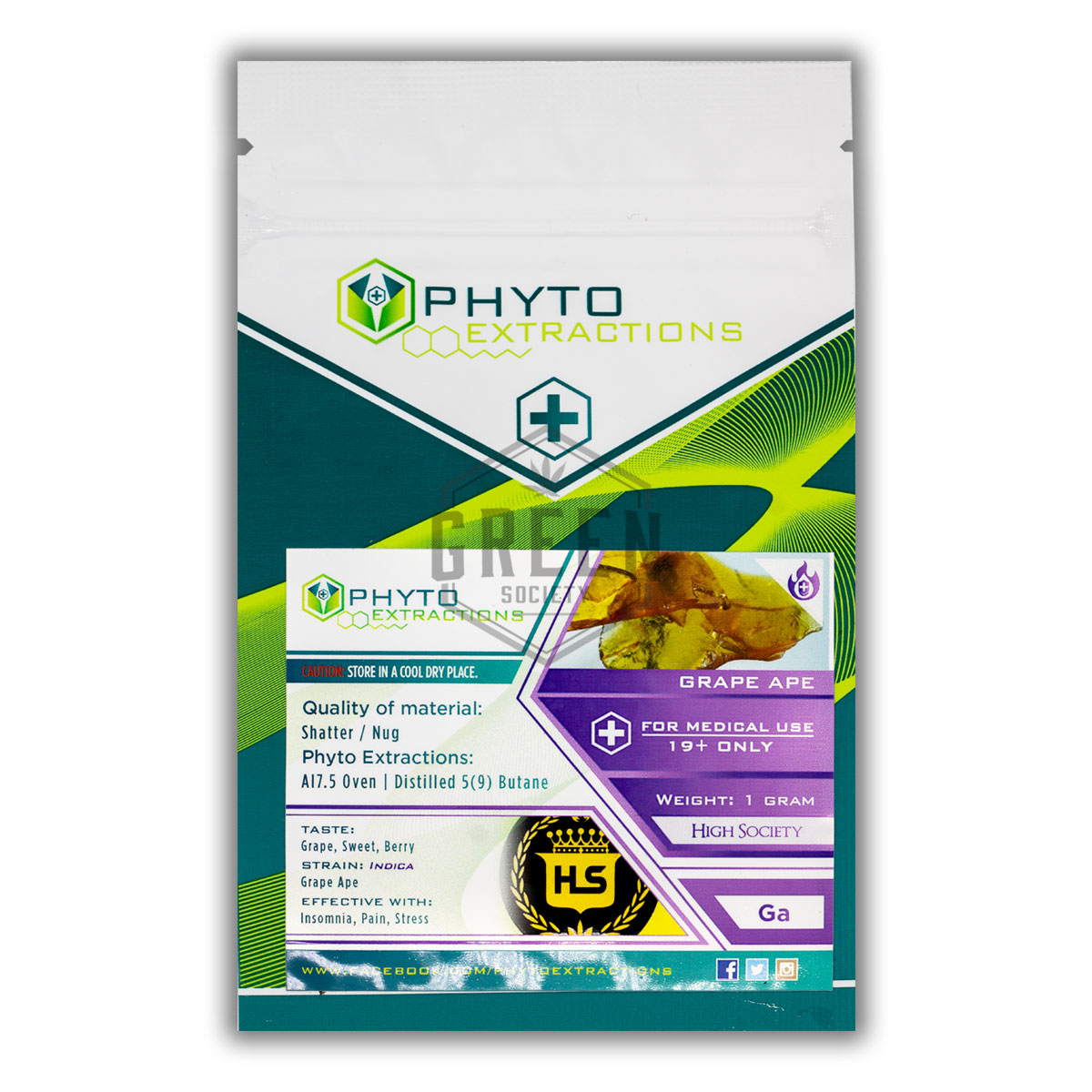 Phyto Extractions Grape Ape Shatter by Green Society - Image © 2019 Green Society. All Rights Reserved.