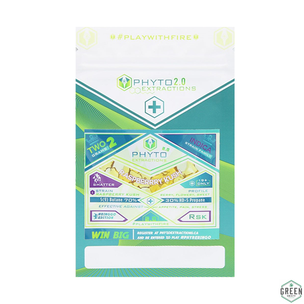 Raspberry Kush 2 Gram Shatter Pack by Phyto Extractions by Green Society - Image © 2018 Green Society. All Rights Reserved.