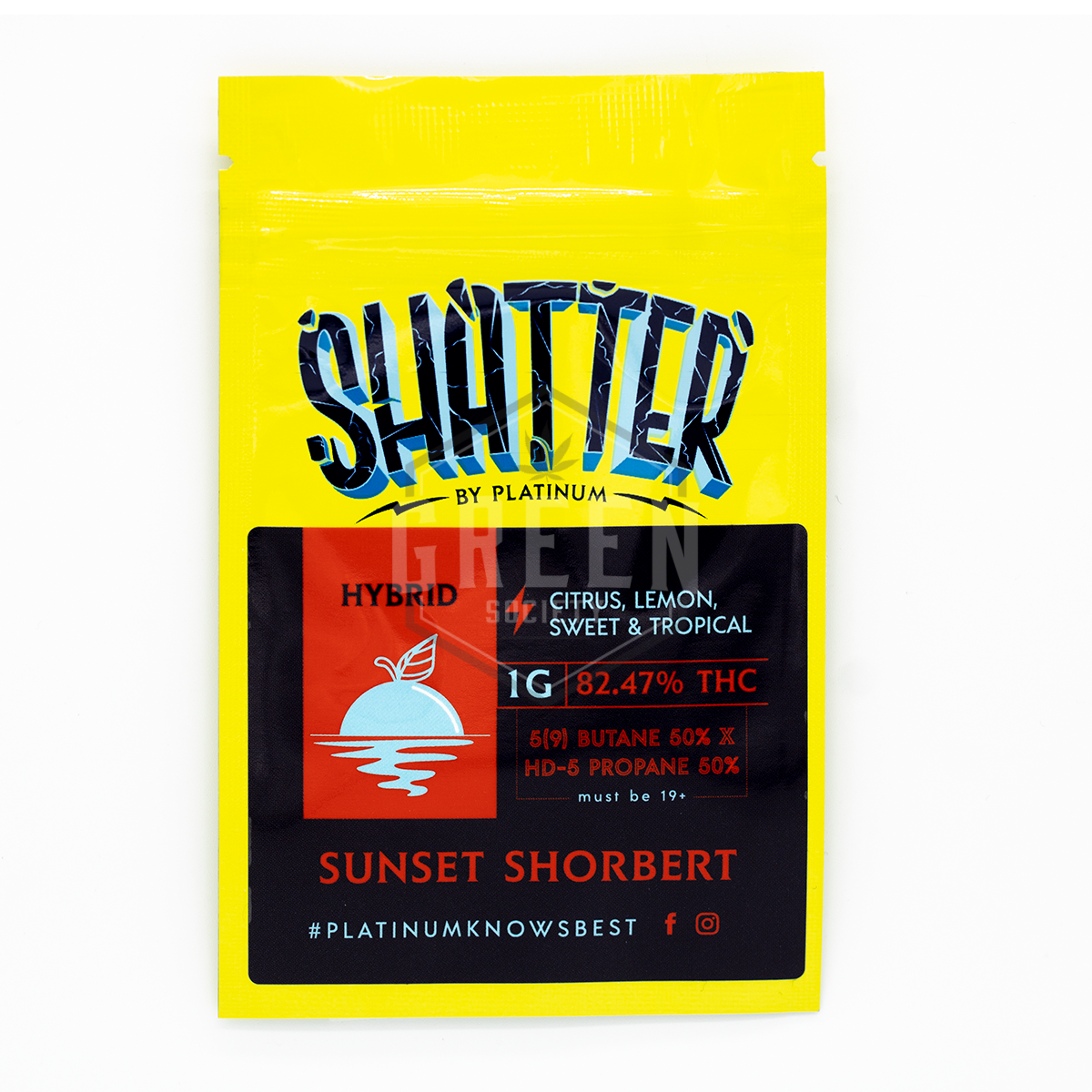 Sunset Shortbert Shatter by Platinum by Green Society - Image © 2018 Green Society. All Rights Reserved.