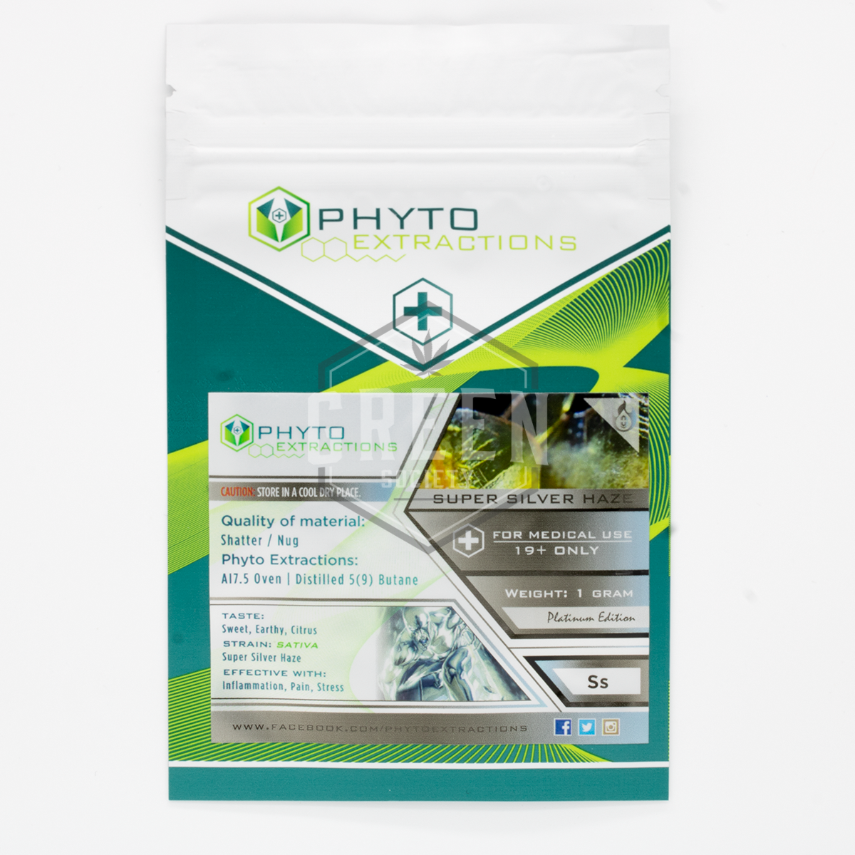 Super Silver Haze Shatter by Phyto Extractions by Green Society - Image © 2018 Green Society. All Rights Reserved.