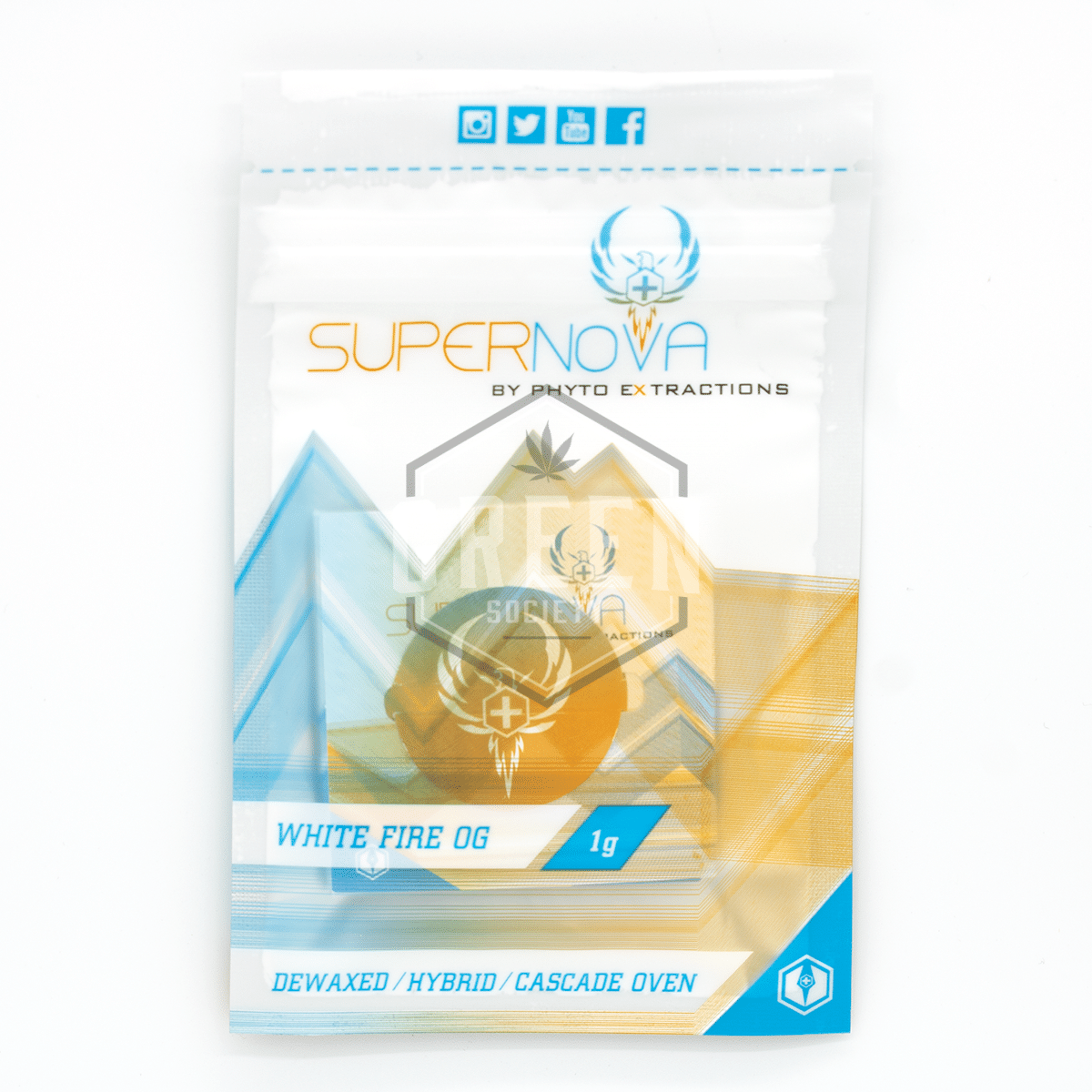 SUPERNOVA Phyto Extractions White Fire OG Shatter by Green Society - Image © 2018 Green Society. All Rights Reserved.