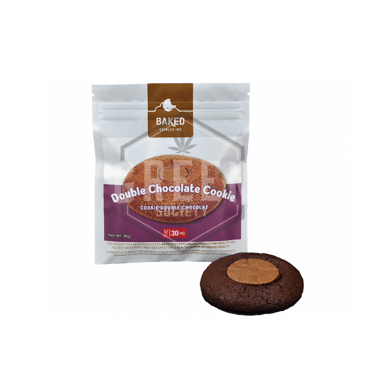 Double Chocolate Cookie (30mg) by Baked Edibles by Green Society - Image © 2018 Green Society. All Rights Reserved.