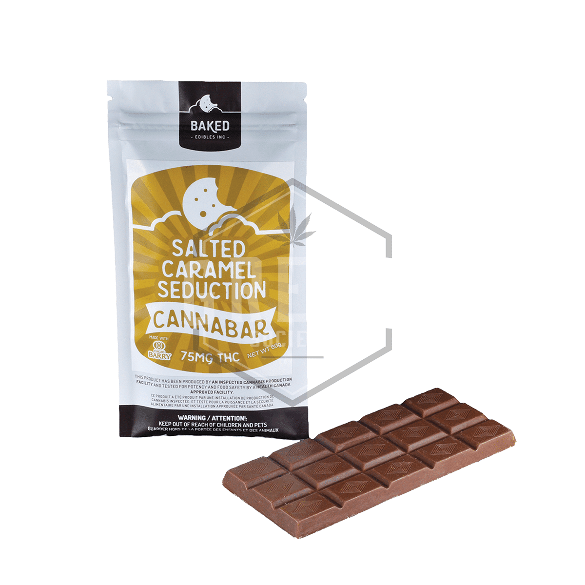 Salted Caramel Seduction Chocolate Bar (75mg) by Baked Edibles by Green Society - Image © 2018 Green Society. All Rights Reserved.
