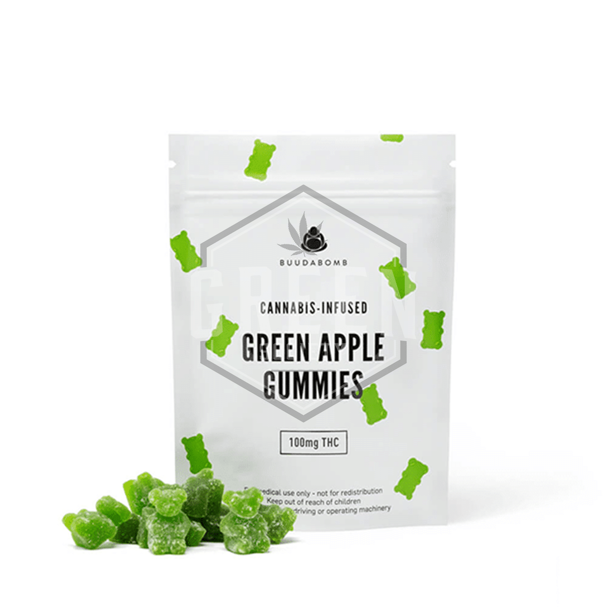 Green Apple Gummies by Buuda Bomb by Green Society - Image © 2018 Green Society. All Rights Reserved.
