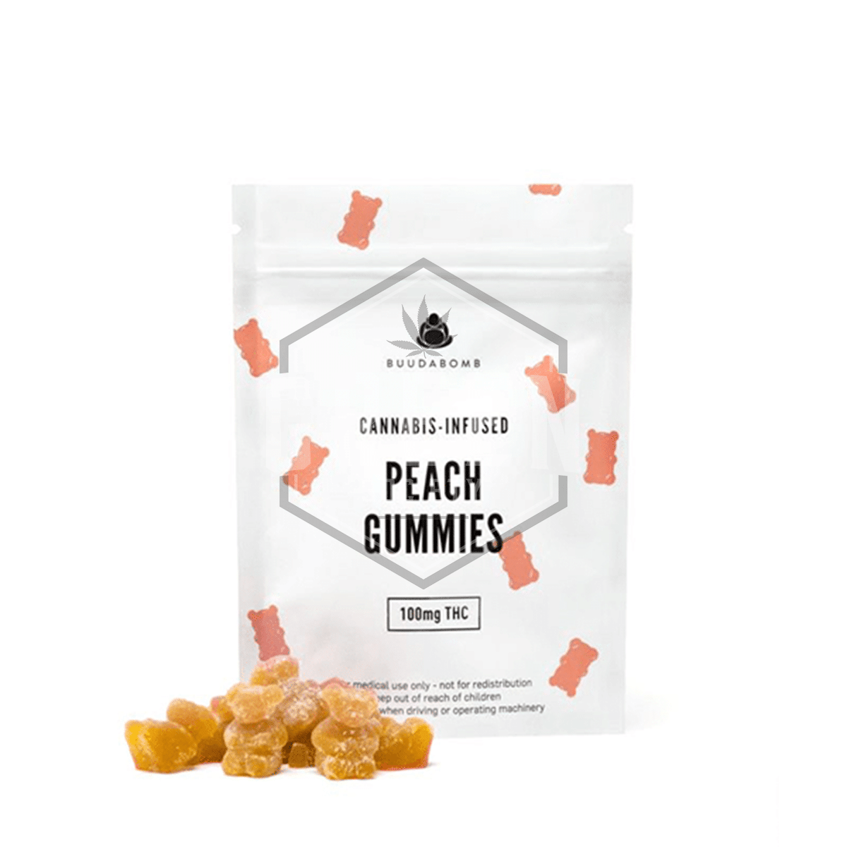 Peach Gummies by Buuda Bomb by Green Society - Image © 2018 Green Society. All Rights Reserved.