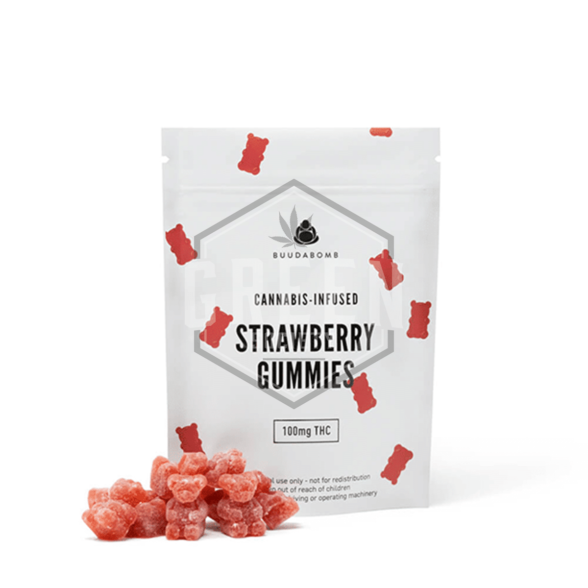 Strawberry Gummies by Buuda Bomb by Green Society - Image © 2018 Green Society. All Rights Reserved.