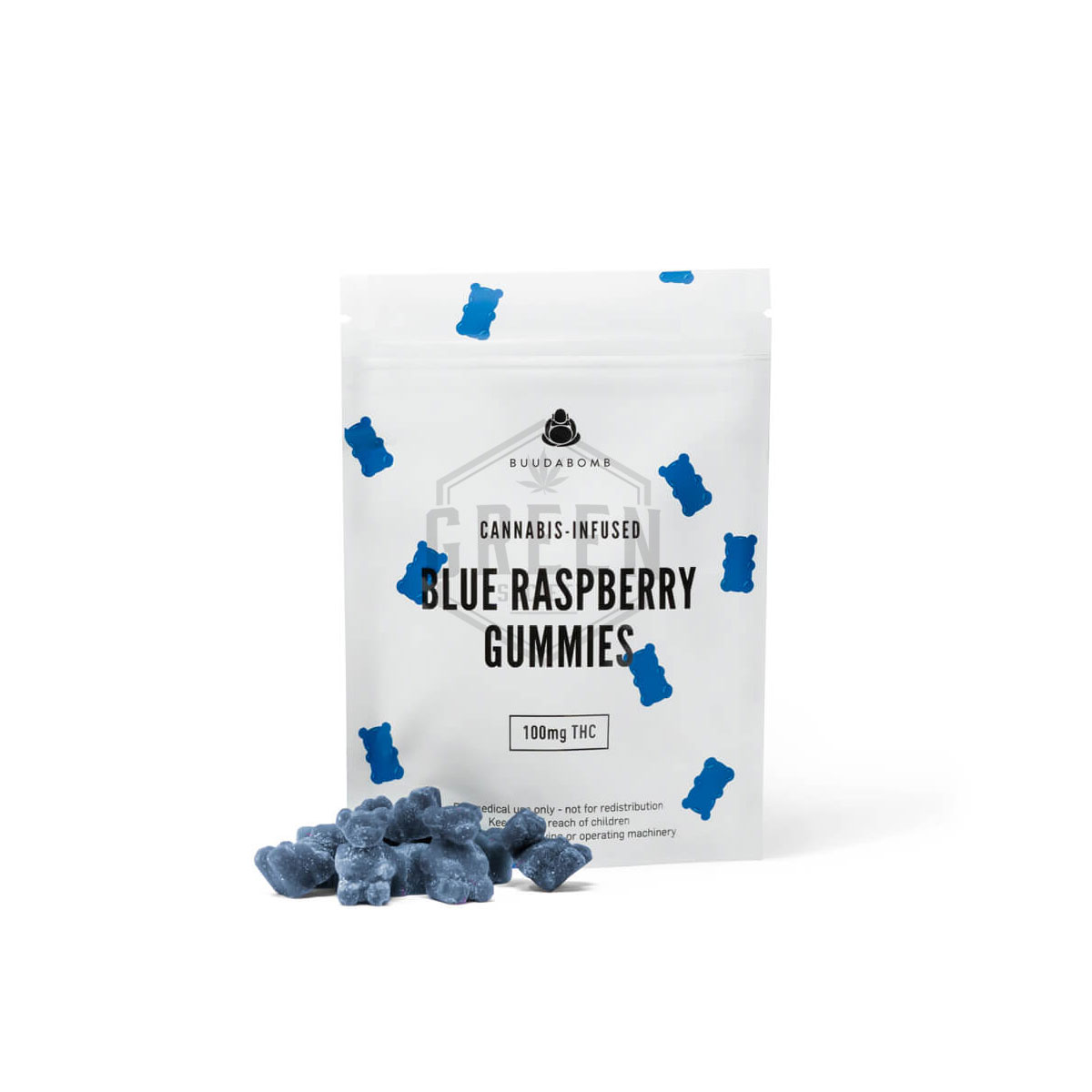 Buuda Bomb Blue Raspberry Gummies by Green Society - Image © 2018 Green Society. All Rights Reserved.