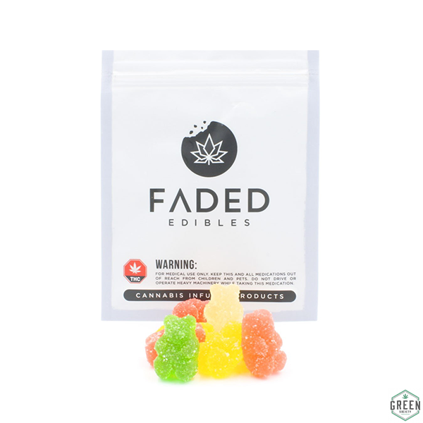 Faded Edibles Sour Gummy Bears by Green Society - Image © 2018 Green Society. All Rights Reserved.