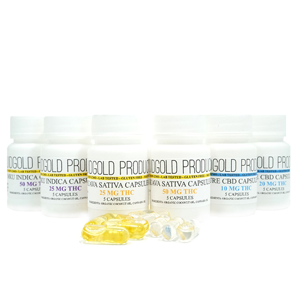 Liquid Gold Products Assorted CBD & THC Pills by Green Society - Image © 2018 Green Society. All Rights Reserved.