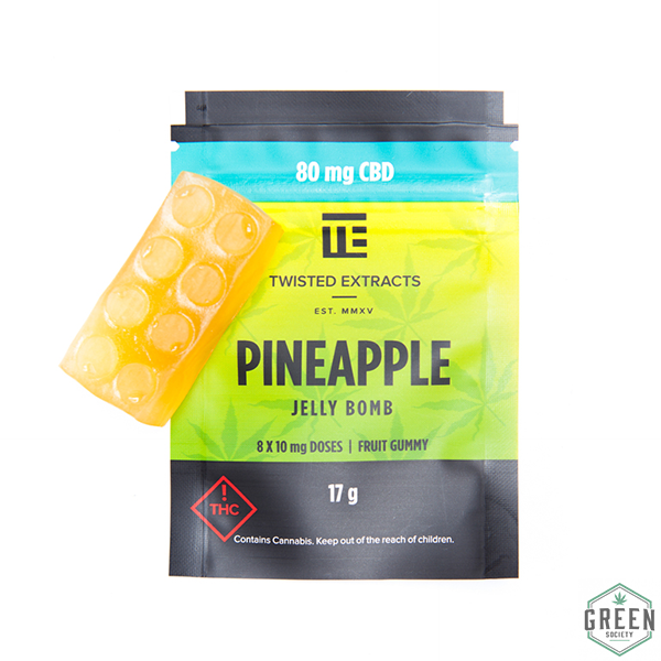 Twisted Extracts Pineapple Jelly Bomb (Pure CBD) by Green Society - Image © 2018 Green Society. All Rights Reserved.