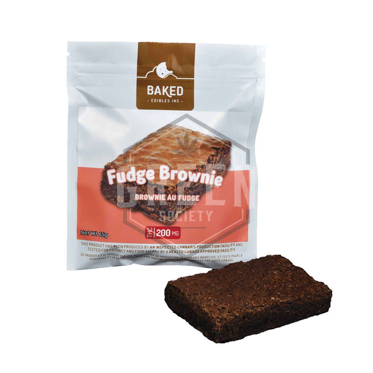 Fudge Brownie (200mg) by Baked Edibles by Green Society - Image © 2018 Green Society. All Rights Reserved.