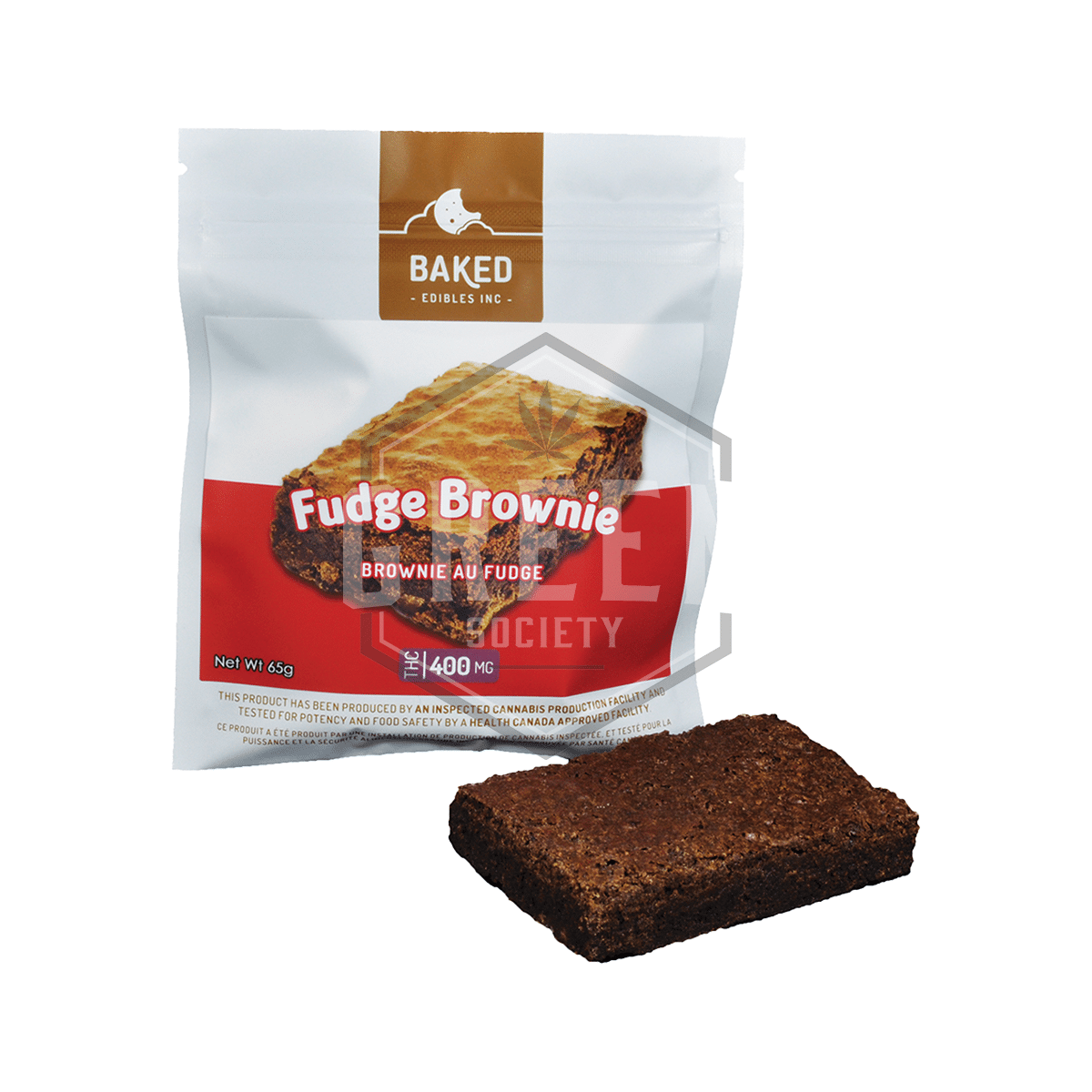 Fudge Brownie (400mg) by Baked Edibles by Green Society - Image © 2018 Green Society. All Rights Reserved.