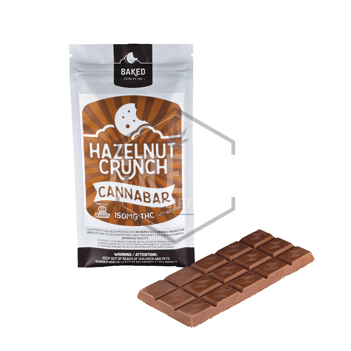 Hazelnut Crunch Chocolate Bar by Baked Edibles by Green Society - Image © 2019 Green Society. All Rights Reserved.