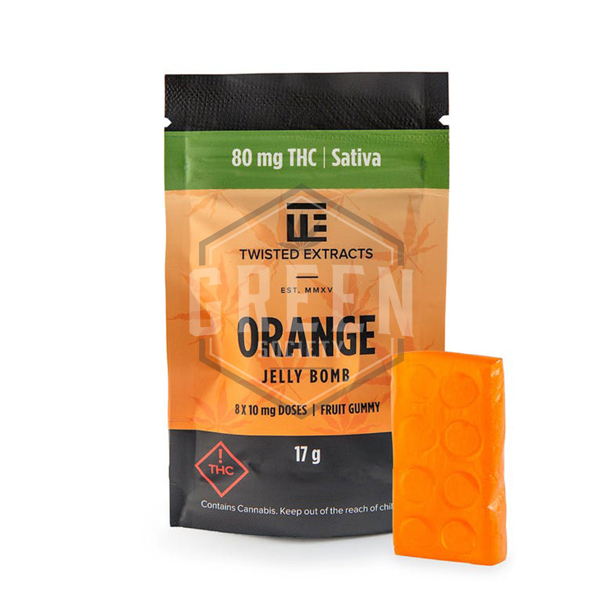 Orange (Sativa THC) Jelly Bomb by Twisted Extracts by Green Society - Image © 2018 Green Society. All Rights Reserved.