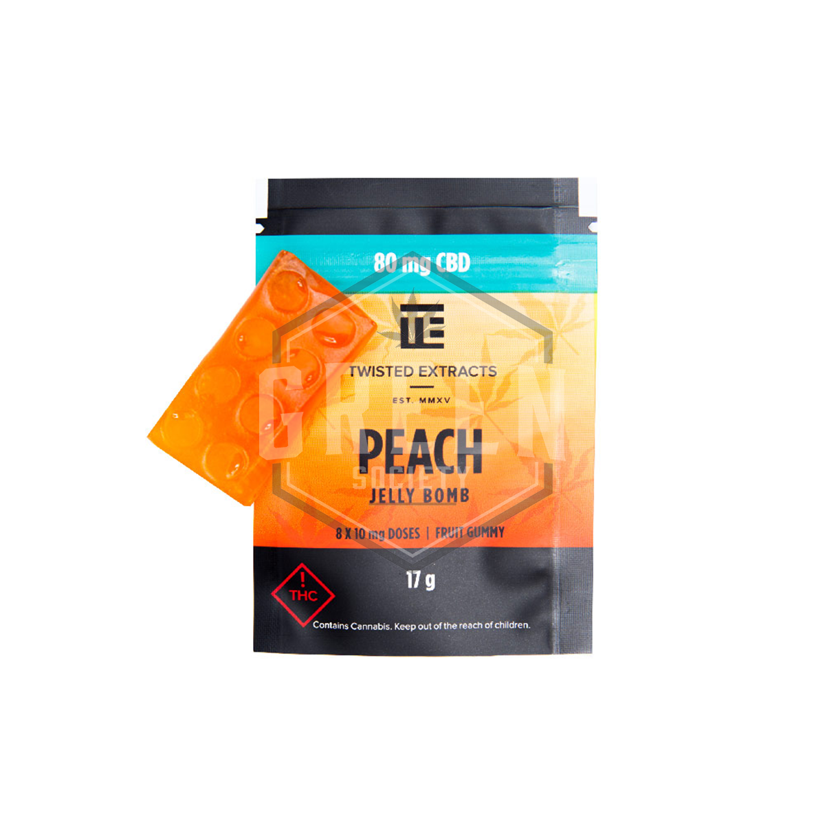 Peach (CBD) Jelly Bomb by Twisted Extracts by Green Society - Image © 2018 Green Society. All Rights Reserved.