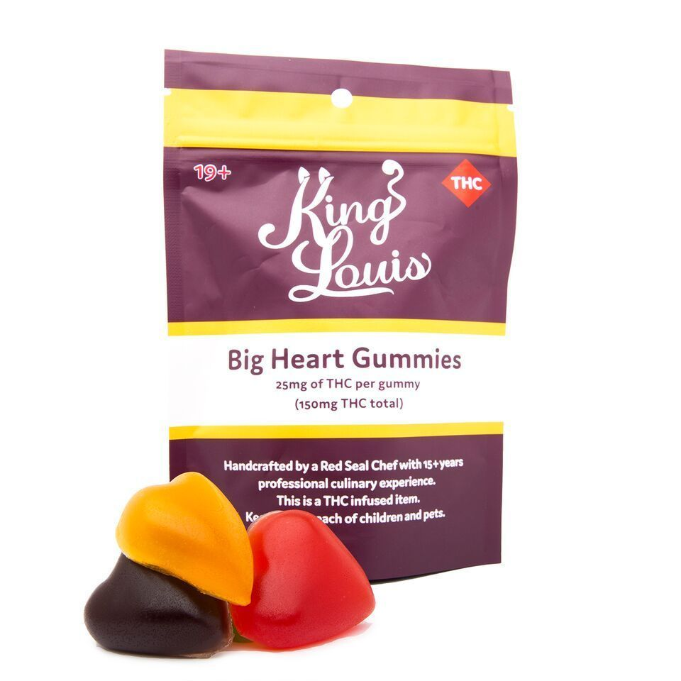 King Louis Big Heart Gummys 150mg THC 25mg per piece by Herb Store BC - Image © 2020 Herb Store BC. All Rights Reserved.