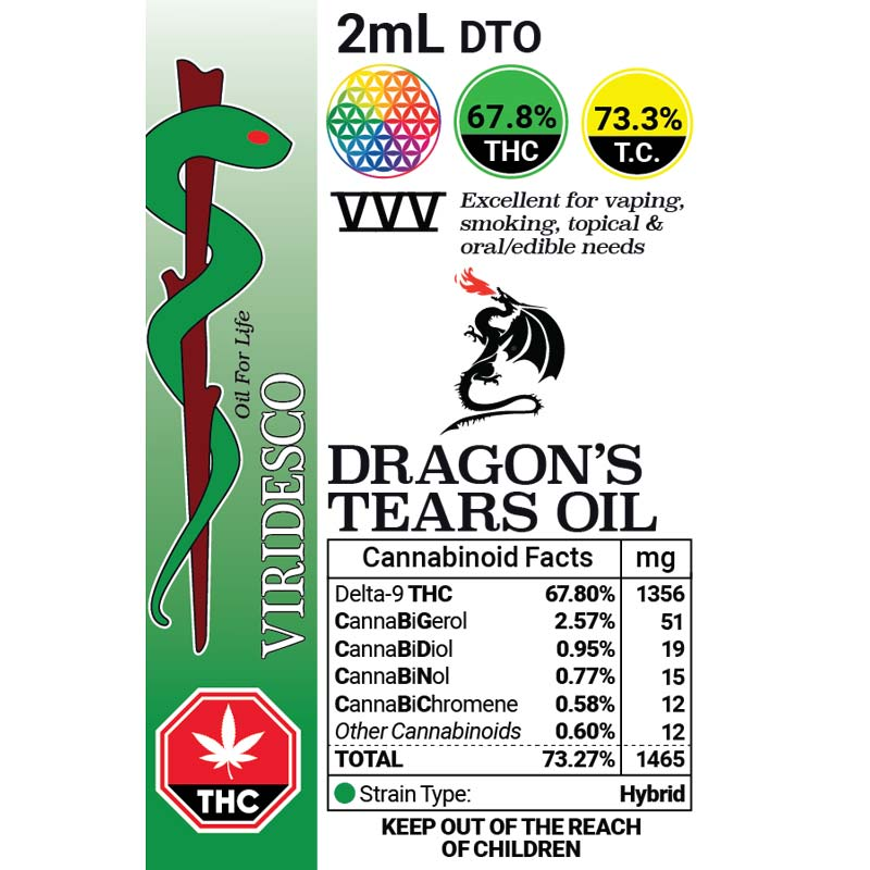 VIRIDESCO VVV DTO Dragons Tears Oil **20% OFF SALE** by High Grade Aid - Image © 2020 High Grade Aid. All Rights Reserved.