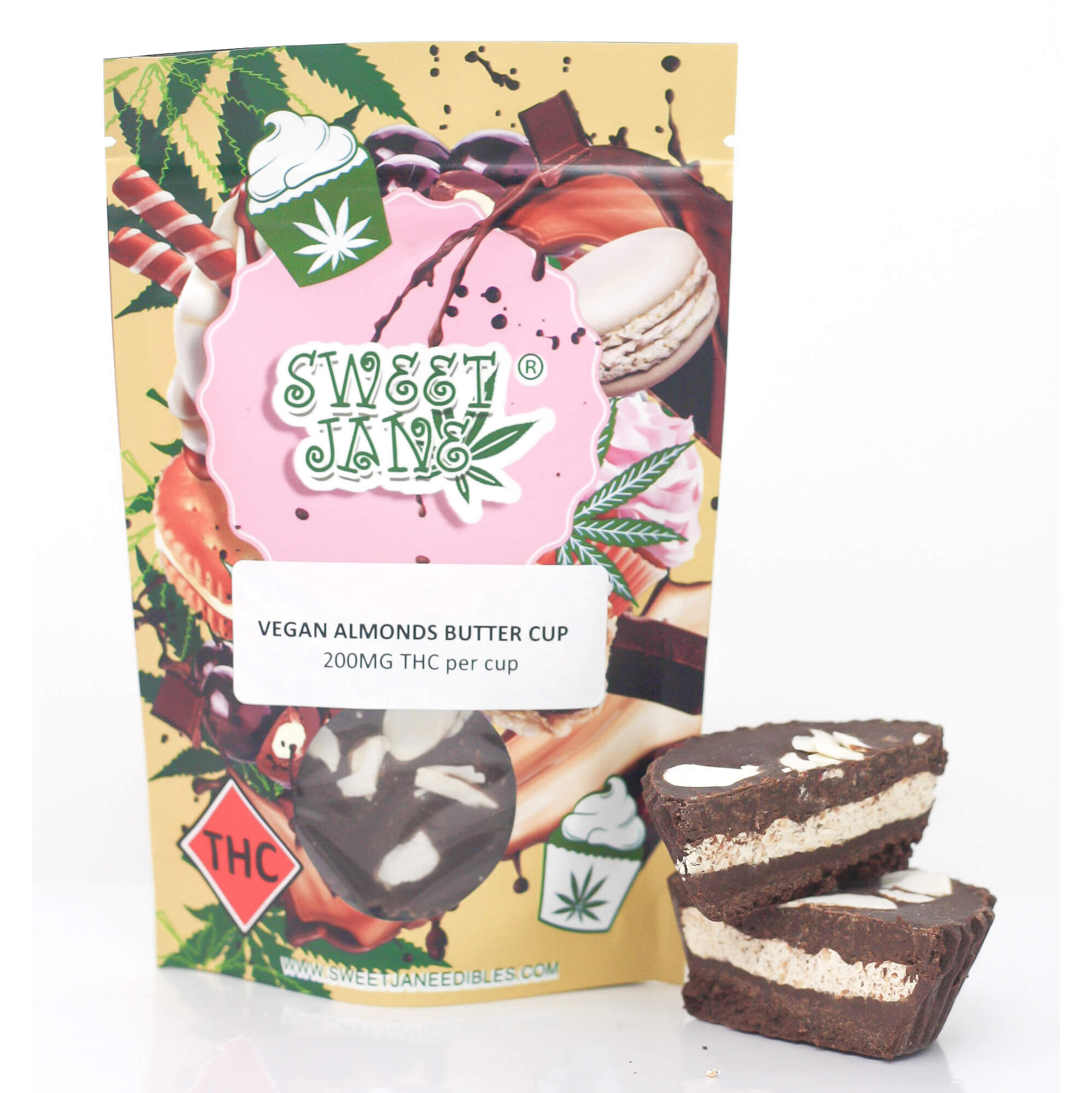 Sweet Janes Vegan Almond Butter THC Cup 200mg by High Grade Aid - Image © 2020 High Grade Aid. All Rights Reserved.