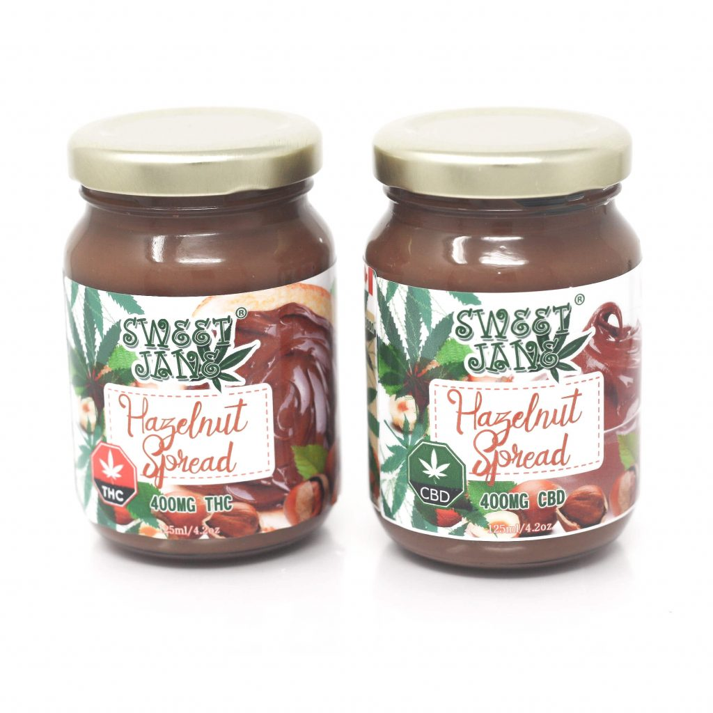Sweet Janes THC Hazelnut Spread 400mg by High Grade Aid - Image © 2020 High Grade Aid. All Rights Reserved.