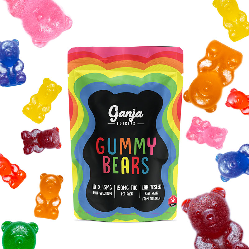 Ganja Bears Gummies Assorted Flavors (10 x 15mg) by The Chrono - Image © 2020 The Chrono. All Rights Reserved.