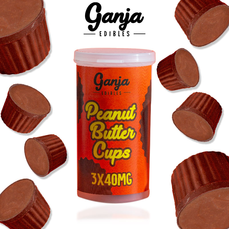 Ganja Edibles Peanut Butter Cup 3 x 40 (120mg THC) by The Chrono - Image © 2020 The Chrono. All Rights Reserved.