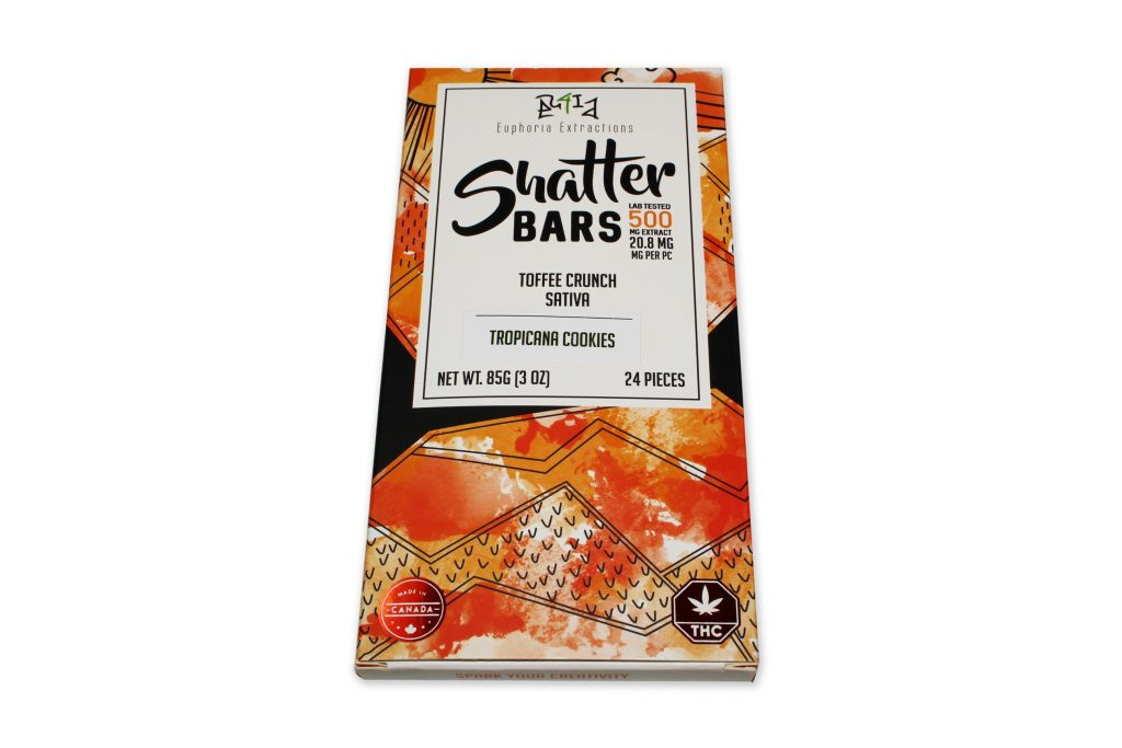 Euphoria Extractions Shatter Bars Toffee Crunch Sativa 500mg Tropicana Cookies by The Chrono - Image © 2019 The Chrono. All Rights Reserved.
